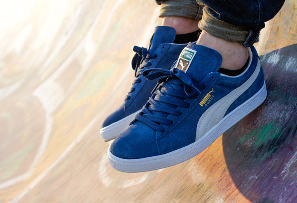 blue and white puma suede