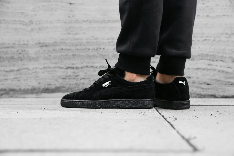 Puma Suede All Black On Feet