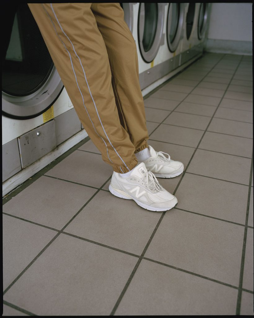 Stüssy x New Balance 990v4 - On feet track pants