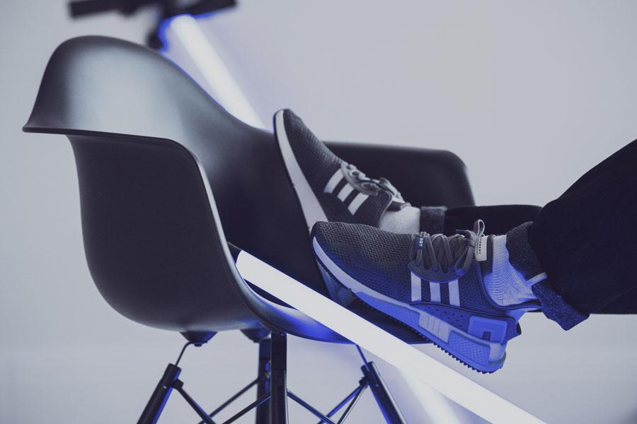 adidas EQT Cushion ADV Blue 95 - Grey (Side On feet)