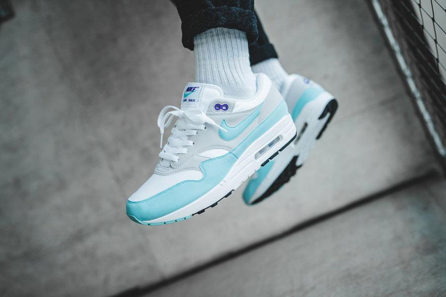 Sneaker Releases in December 2017 - Nike Air Max 1 Anniversary White Aqua (On feet)