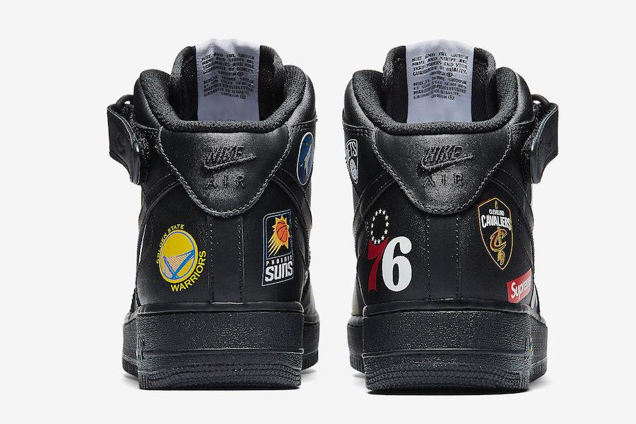 Supreme x Nike Air Force 1 Mid 07 NBA (Black) - Back