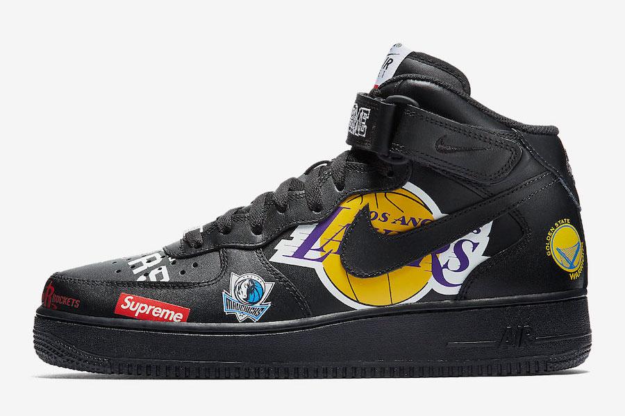 Supreme x Nike Air Force 1 Mid 07 NBA (Black) - Left