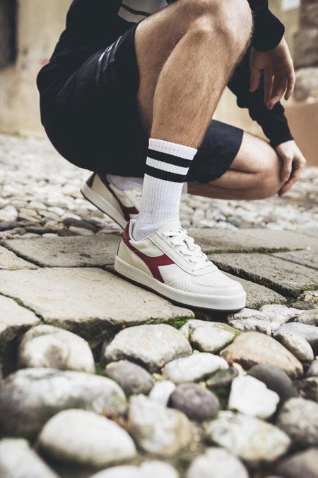 Diadora SS18 Sportswear Collection - B.Elite L White Tibetan Red (On feet)