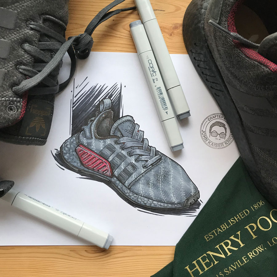 Sneaker Illustrations John Kaiser Knight - adidas NMD R2 x Henry Poole