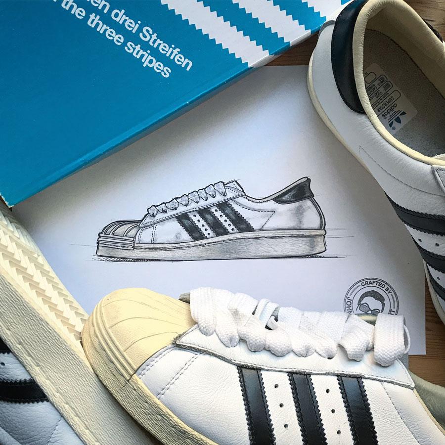 Sneaker Illustrations John Kaiser Knight - adidas Superstar Made in France (Tribute)