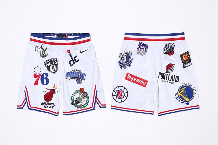 Supreme x Nike Air Force 1 Mid 07 NBA - Basketbal Shorts (White)