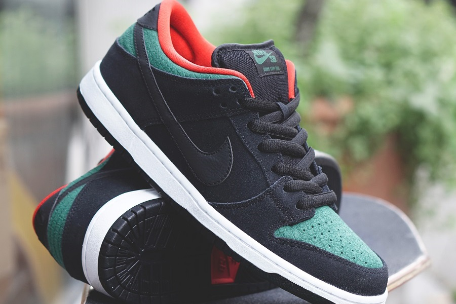 a0fbd3999cf2 Nike Dunk Low Pro SB - Black  Gorge Green-Challenge Red Released