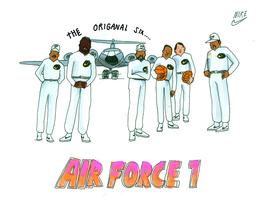 The Original Six: The Famous Air Force 1 Poster Shows Six Legendary Players  Of Their Time: Moses Malone, Jamaal Wilkes, Calvin Natt, Mychal Thompson,  ...