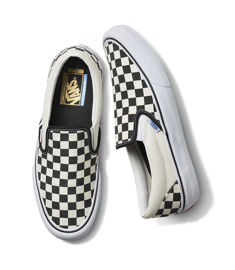 vans classic pro 50th black and white checkerboard slip on shoes