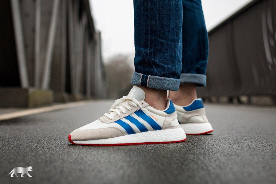 the best attitude 14fd3 6fe30 On Feet Look  adidas Originals Iniki Runner (OFF WHITE  BLUE   CORE RED)