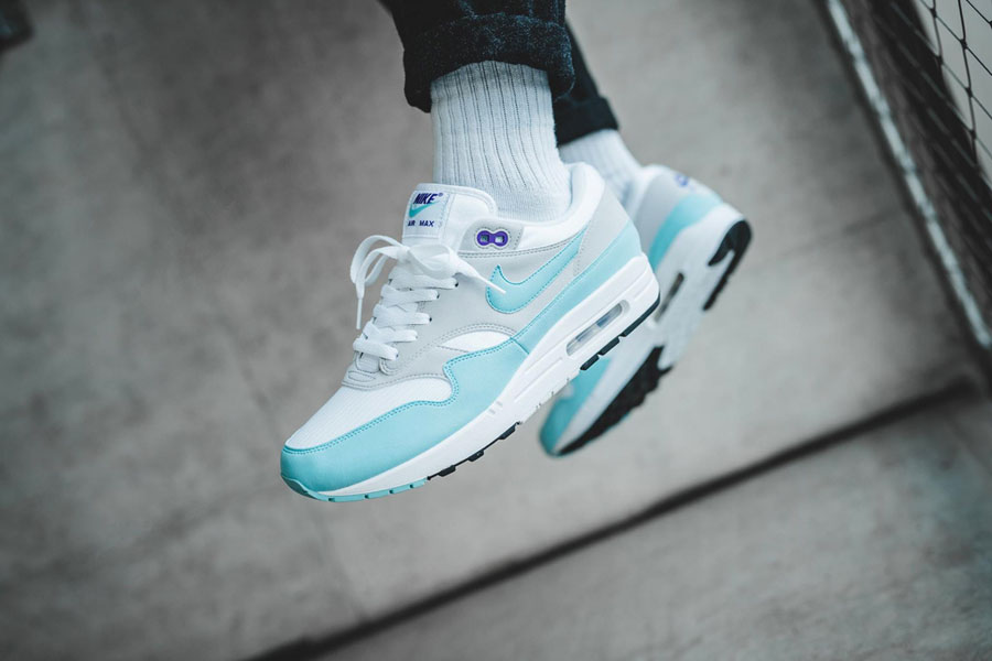 Sneaker Releases in December 2017 - Nike Air Max 1 Anniversary White Aqua (On feet)