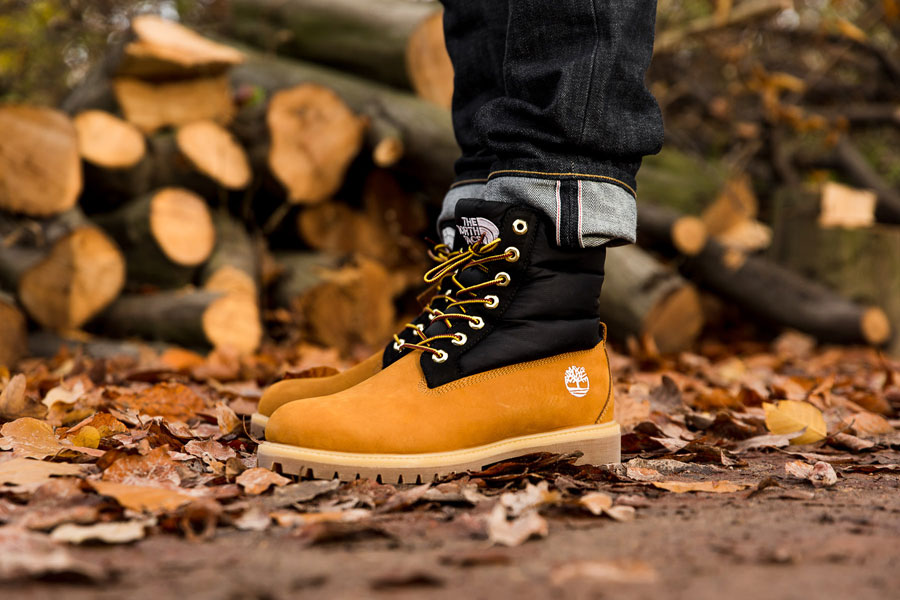 Timberland x The North Face 6 Inch Nuptse Boot - Side (On feet)