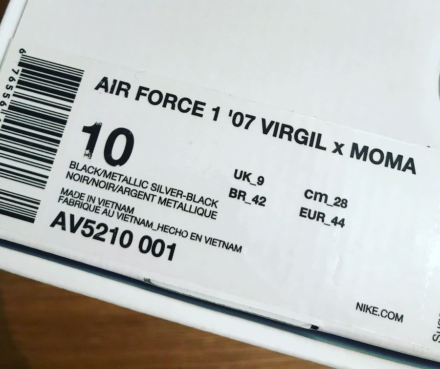 MoMA x OFF-WHITE x Nike Air Force 1 '07 - Box