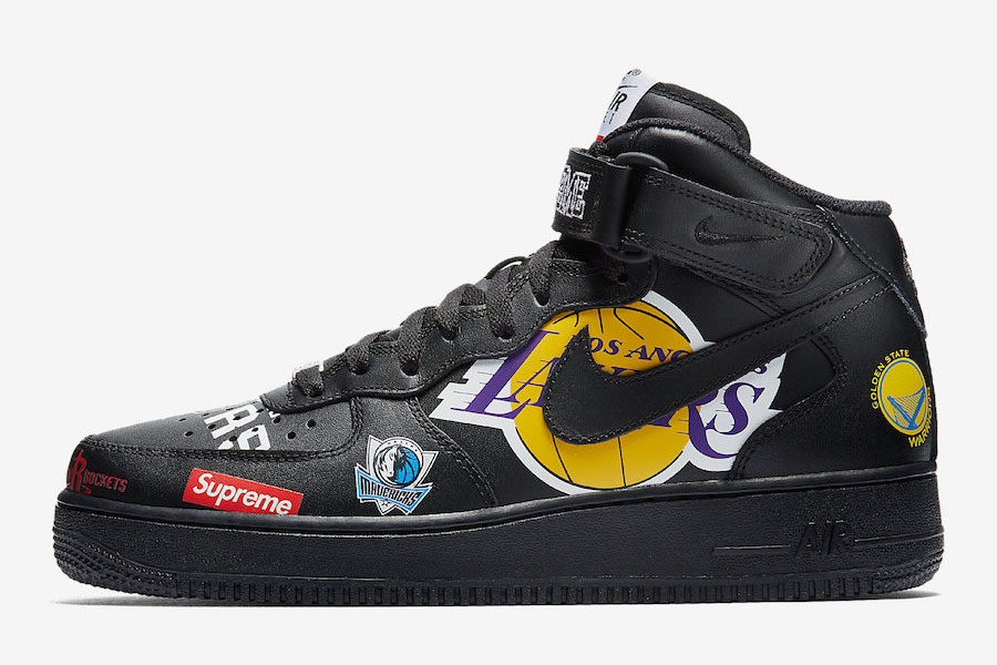 Supreme x Nike Air Force 1 Mid 07 NBA (Black) - Left