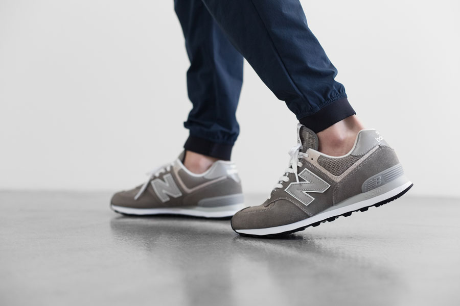 New Balance 574 Classic Grey ML574EGG - On feet (Close)