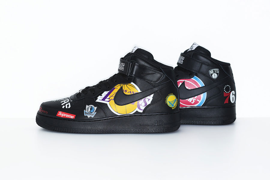 Supreme x Nike Air Force 1 Mid 07 NBA (AQ8017-001) - Black (Left)