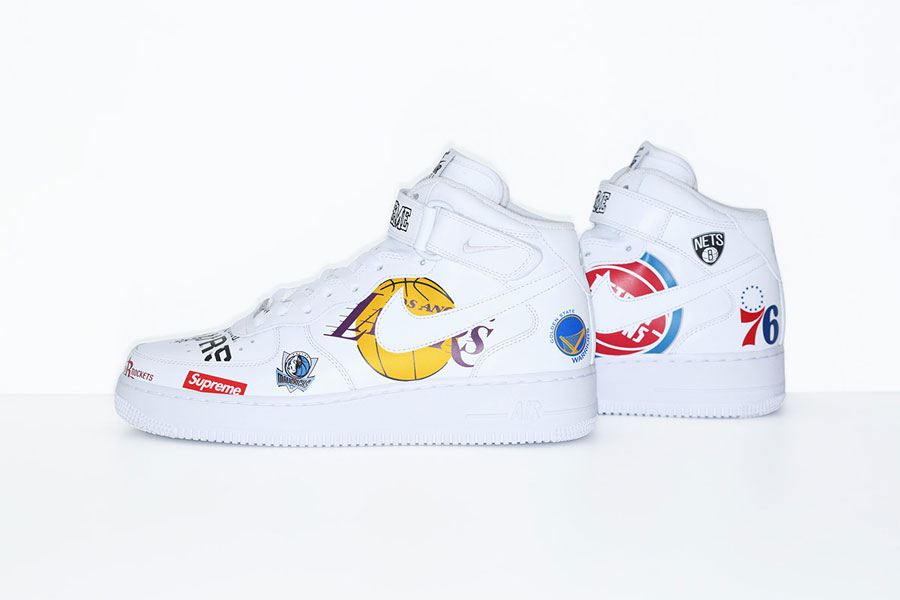Supreme x Nike Air Force 1 Mid 07 NBA (AQ8017-100) - White (Left)