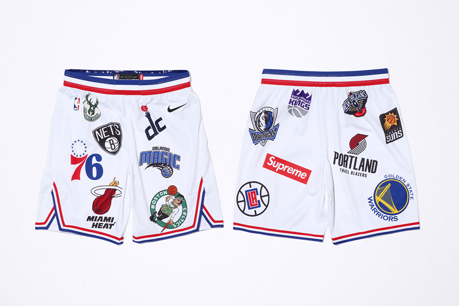 Supreme x Nike Air Force 1 Mid 07 NBA - Basketbal Shorts (White)
