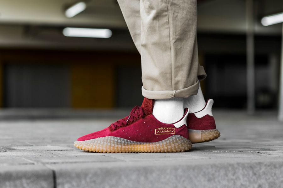 adidas Kamanda Collegiate Burgundy (CQ2219) - On feet (Side)