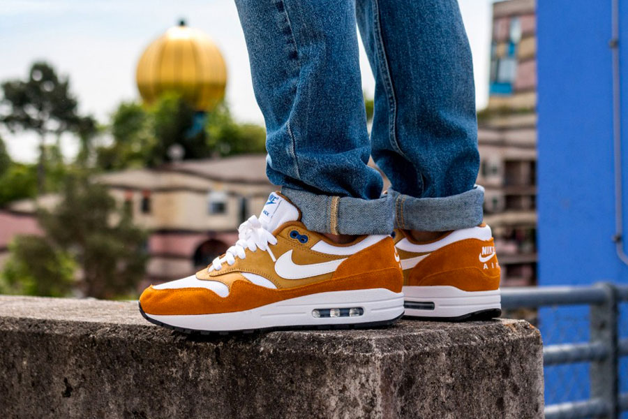 atmos x Nike Air Max 1 Curry (908366-700) - On feet (Left)