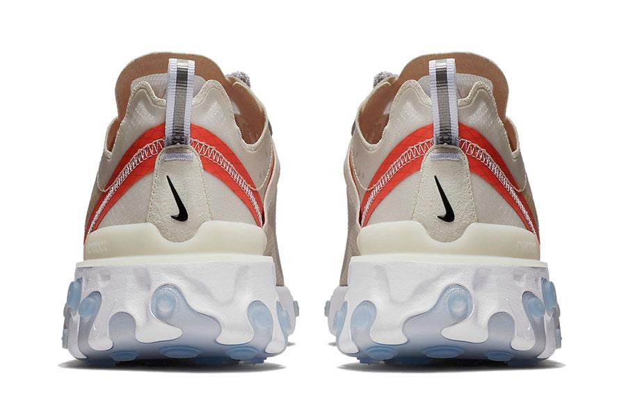 Nike React Element 87 Sail Light Bone White Rush Orange (AQ1090-100) - Back