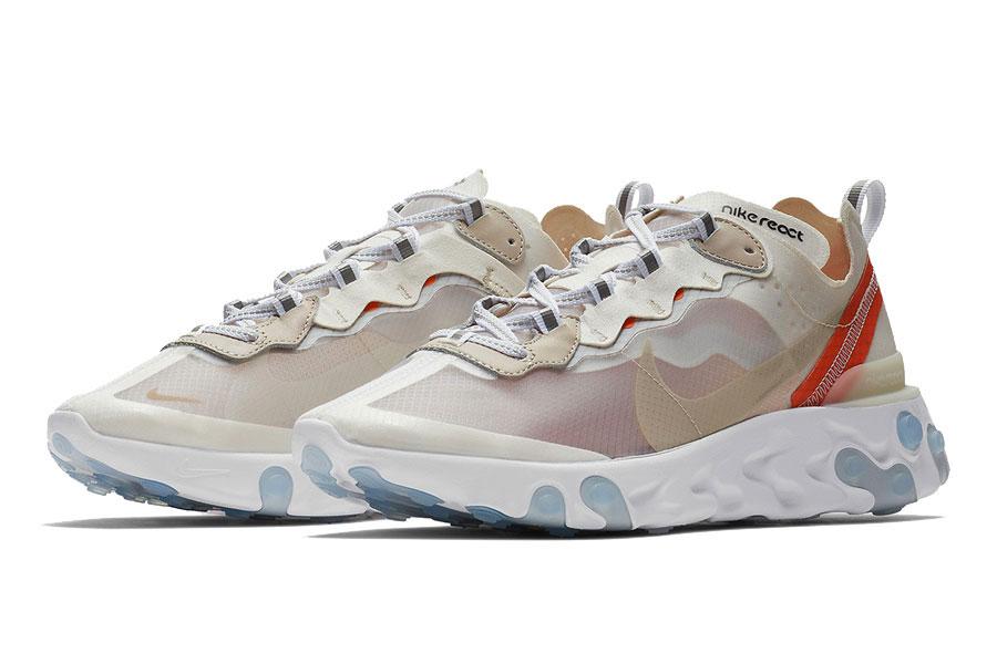 Nike React Element 87 Sail Light Bone White Rush Orange (AQ1090-100)