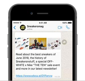 Sneakers Magazine - WhatsApp Newsletter (Mobile)