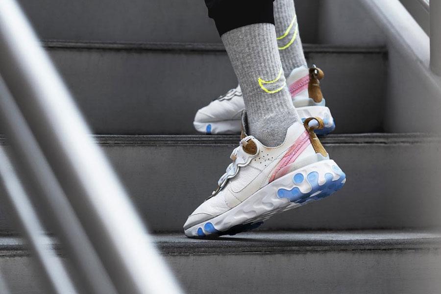 The Shoe Surgeon x Nike React Element 87 Leather Custom - On feet (Back)