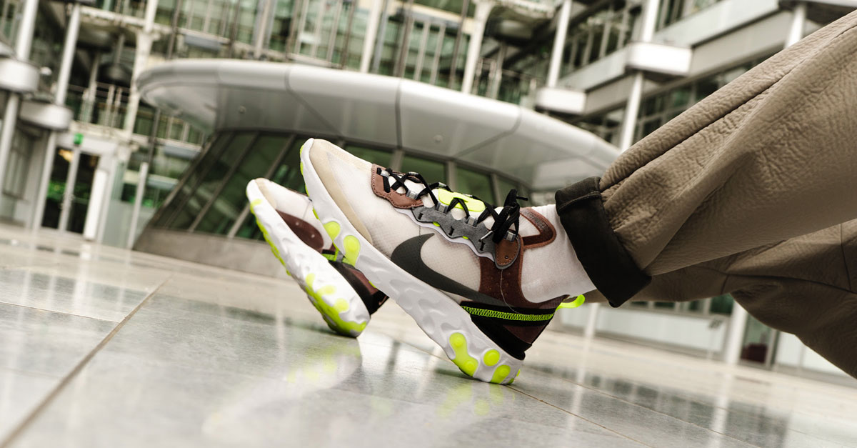 71cd65af3357 Nike React Element 87 Desert Sand   Dark Grey