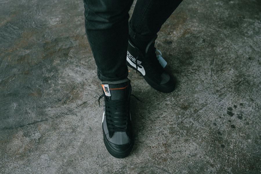OFF-WHITE x Nike Blazer Grim Reepers (AA3832-001) - On feet 2