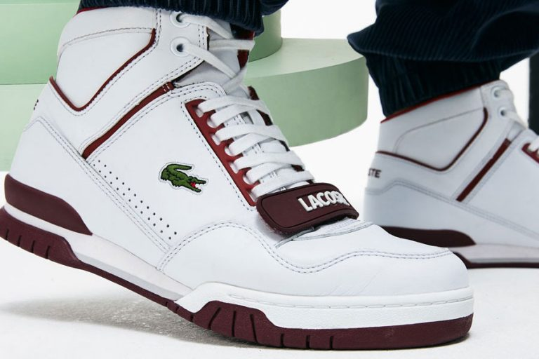Lacoste Missouri M85 (White / Burgundy / Dark Red) - On feet