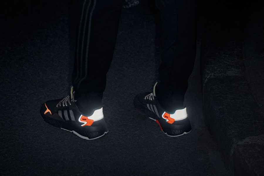 adidas NITE JOGGER Core Black Carbon Active Blue (CG7088) - On feet 3