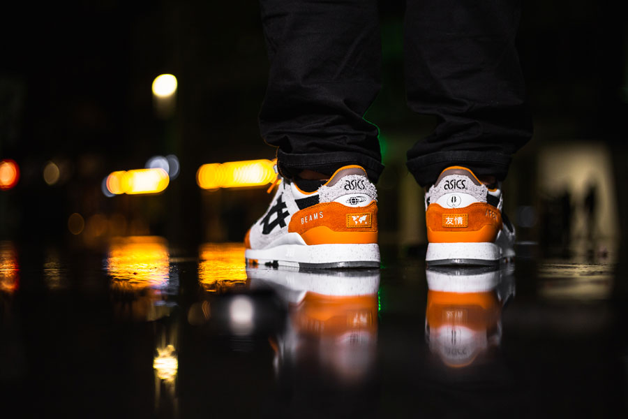 Afew x BEAMS x ASICS GEL-LYTE III Orange Koi - On feet (Back)