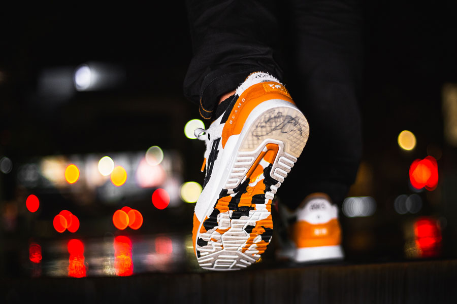 Afew x BEAMS x ASICS GEL-LYTE III Orange Koi - On feet (Outsole)
