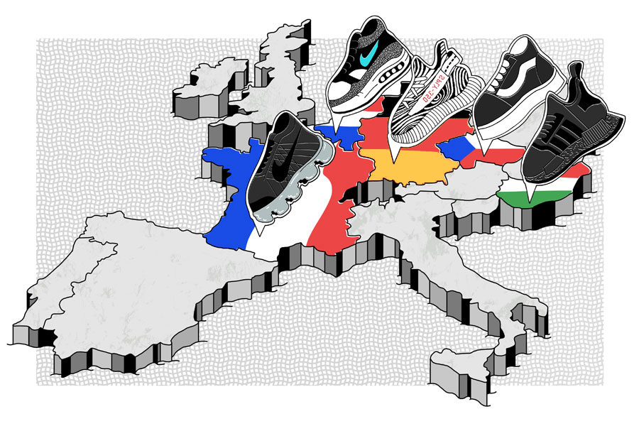 Europe Most-Worn Sneakers - Sneaker Tracker (Map)