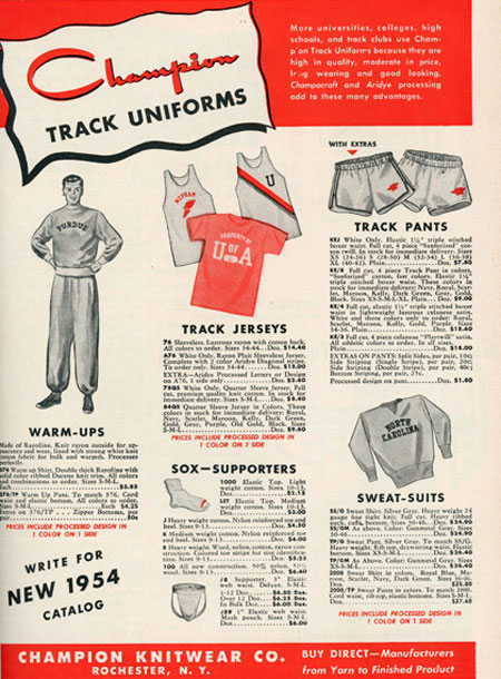 The History of Athletic Brand Champion - 1954 Catalog