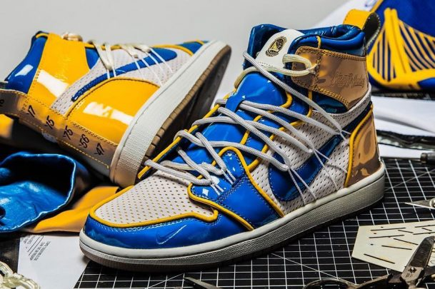 Air Jordan 1 Golden State Warriors Custom by The Shoe Surgeon - Mood 1