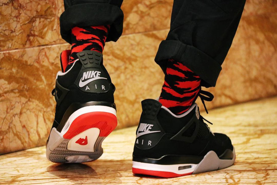 "aa366ed504d0f8 Check out the Air Jordan 4 ""Bred"" 2019 Retro on Feet"