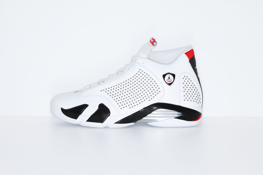 Supreme x Nike Air Jordan 14 - White Black (Side)