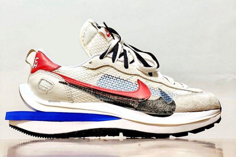 sacai x Nike Vaporwaffle Sail / Light Bone / Game Royal / Sport Fuchsia